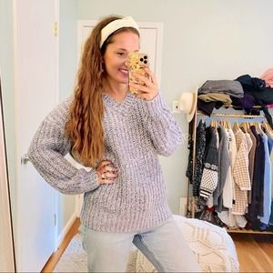 For The Republic Blue Chunky Knit Tunic V Sweater